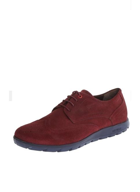 Comienzo %100 Suni Deri Bağcıklı Ayakkabı Bordo